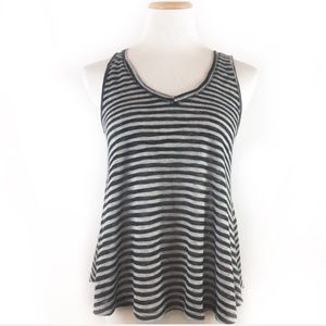 NWT One Clothing Gray Black Swingy Stripe Tank Top